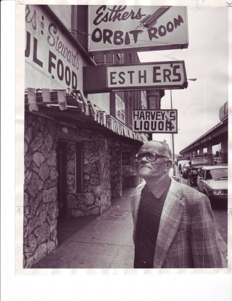 Bob Geddins in front of Esther's Orbit Room in 1983