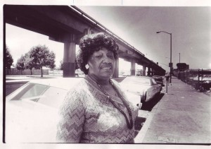Esther Mabry on 7th Street in 1985
