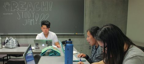 Students review during a study jam organized by Berkeley's Asian Pacific Islander Recruitment and Retention Center, or REACH!